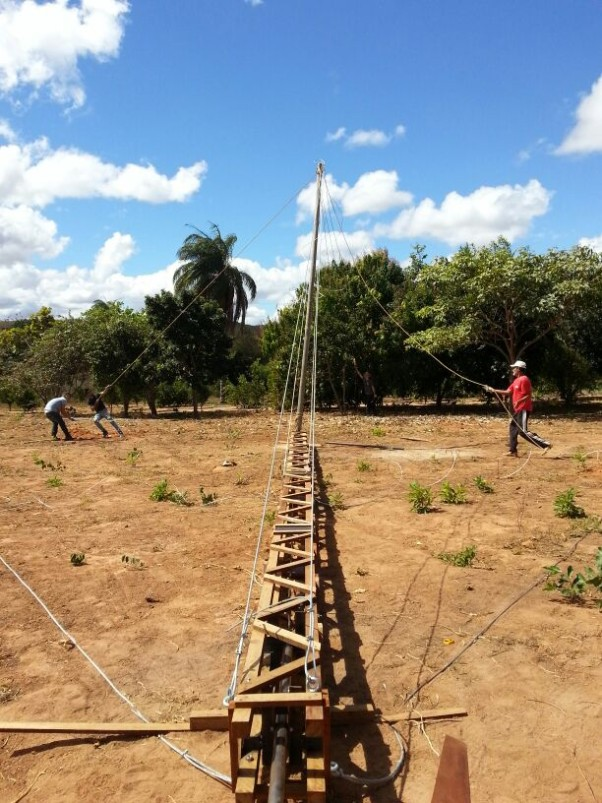 Final assembly of the 12m wooden tower, ready for installation at the Fazenda Mandacaru' – Montes Claros, Brazil.