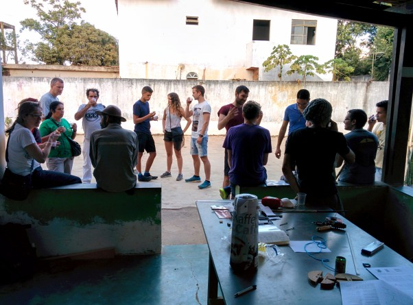 Closing break after the first day of workshop at the capoeira school of Berimbau de Ouro, Montes Claros, Brazil.