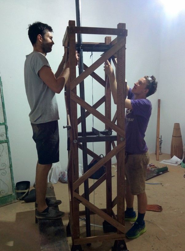 Mark (right) and Nick (left) finalising the wooden tower junctions for the final assembly