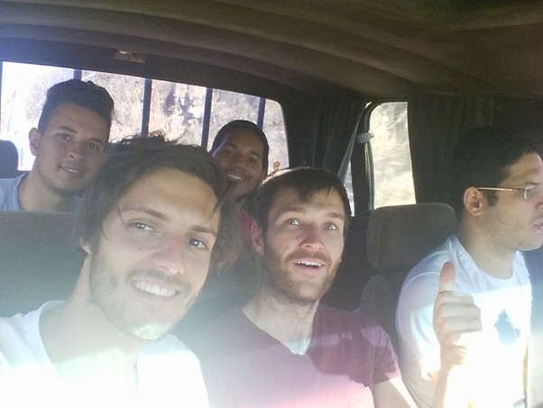 Marco, Mark, Nick, Oliver and Admo travelling to the Fazenda Mandacaru